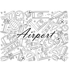 airport line art design vector image