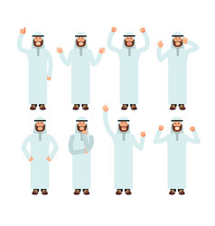 Arab man standing with different hand gestures vector