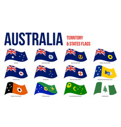 Australia all states and territory flags waving vector