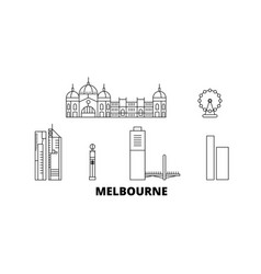australia melbourne city line travel skyline set vector image