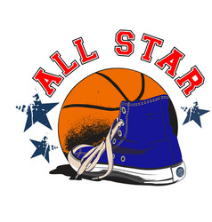 basket blue shoe all star vector image