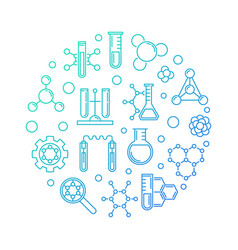 Biochemistry blue concept round outline vector