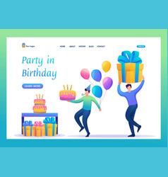 Birthday party with friends flat 2d characters vector