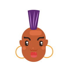 black skin woman head vector image
