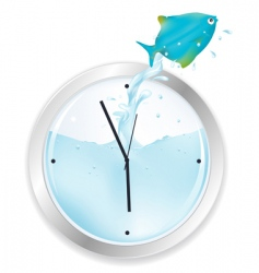 Blue fish jumping from clock vector