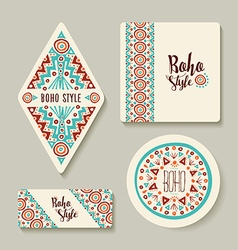 Boho style sticker or tags set with tribal art vector