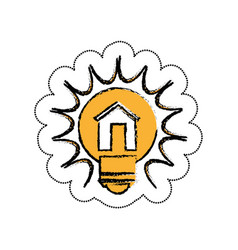 Bulb light with house drawing icon vector