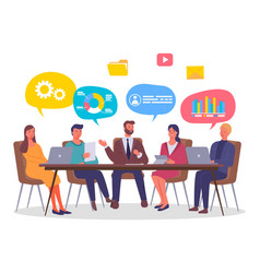 businesspeople talking and working together in vector image