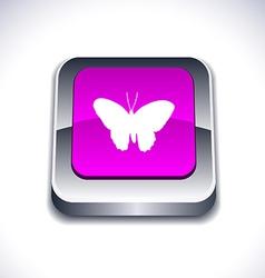 Butterfly 3d button vector