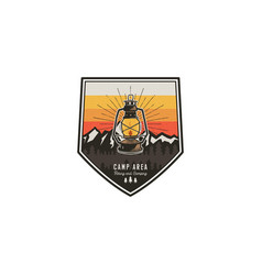 Camping and hiking vintage badge mountain vector