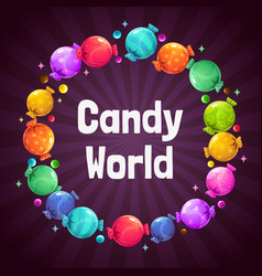 candy frame sweet background template vector image