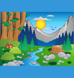 Cartoon forest landscape 2 vector