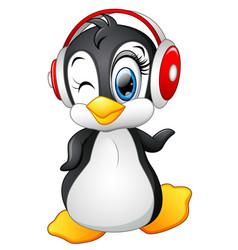 cartoon penguin with earphone vector image