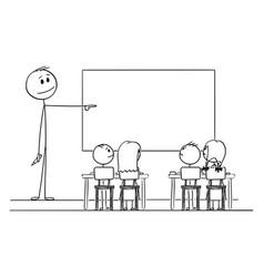 Cartoon teacher in classroom with marker in vector