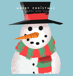 Christmas and new year card funny snowman cartoon vector