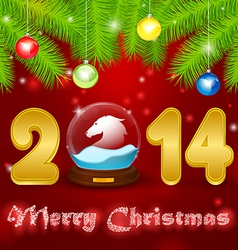 Christmas background globe with horse vector image