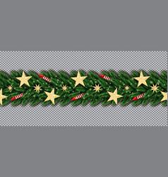 christmas border with golden glitter stars vector image