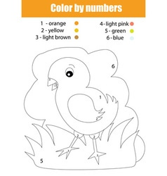 Coloring page with chicken Color by numbers vector image