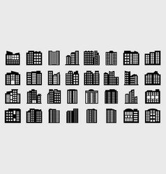 company icons set big building vector image