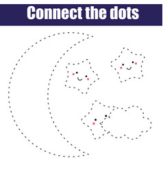 Connect the dots children educational game vector