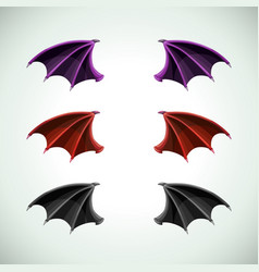 demons wings set halloween decor icons vector image