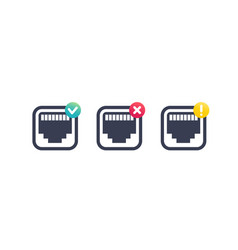 Ethernet network port icons on white vector