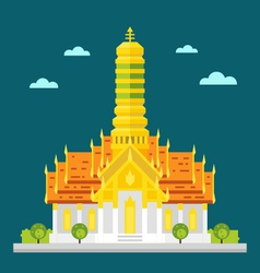 Fabulous temple of Thailand flat design vector image
