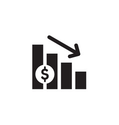 Finance exchange graphic down black web icon vector