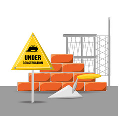 Flat under construction warning with brick vector