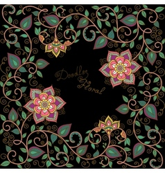 Floral pattern on the black background vector