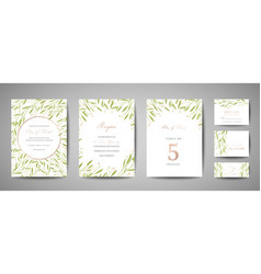 Flower wedding save date invitation cards vector