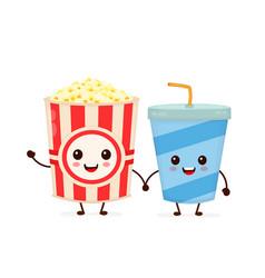 funny happy cute smiling bucket of popcorn vector image