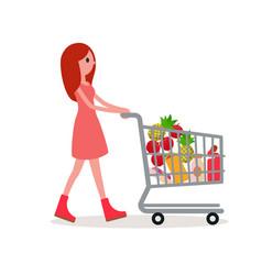 Girl with shopping bag vector
