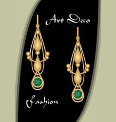 Golden earrings in art deco style with emerald vector