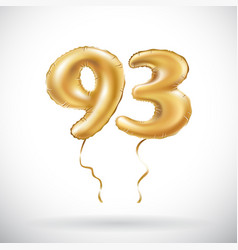 Golden number 93 ninety three metallic balloon vector
