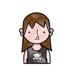 Grated boy rocker with skull t-shirt and long hair vector