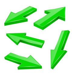 green arrows straight shiny 3d icons vector image