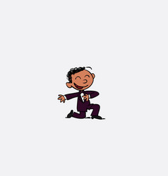 Groom begging on his knees cheerful isolated vector