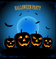 halloween poster with pumpkins in blue design vector image