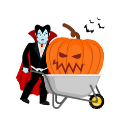 halloween wheelbarrow and vampire dracula big vector image
