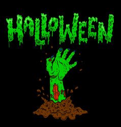 halloween zombie hand on dark background design vector image