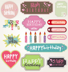 happy birthday - labels vector image