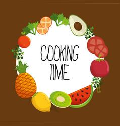 healthy food vegan icons vector image