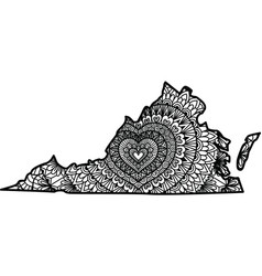 Heart shape mandala inside virginia state map vector