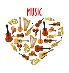 Heart with classical musical instruments symbol vector