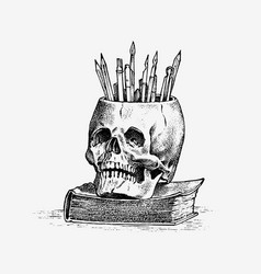 human skull with pencils retro old school sketch vector image