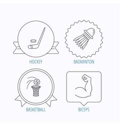 Ice hockey basketball and badminton icons vector image