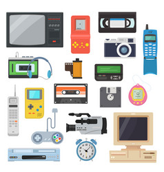 Icons of retro gadgets of the 90s in a flat style vector