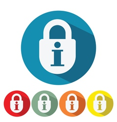 Information security web icon flat design vector