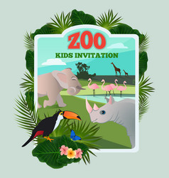 Invitation for kids party poster template vector